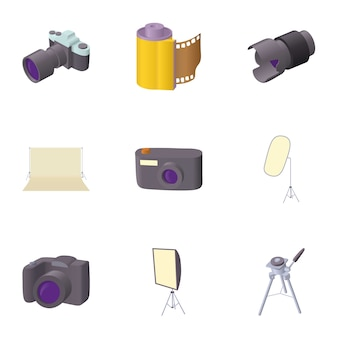 Photography set, cartoon style