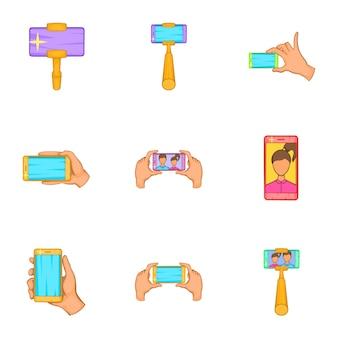 Photography on smartphone icons set, cartoon style