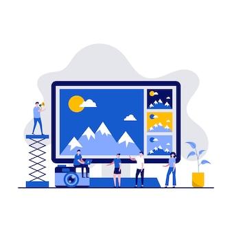 캐릭터와 사진 소프트웨어 및 편집 응용 프로그램 개념. 사진 편집 온라인 서비스.