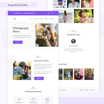 Photography store email landing page