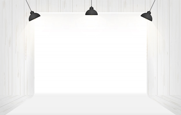 Photography studio background with lighting in white room space..