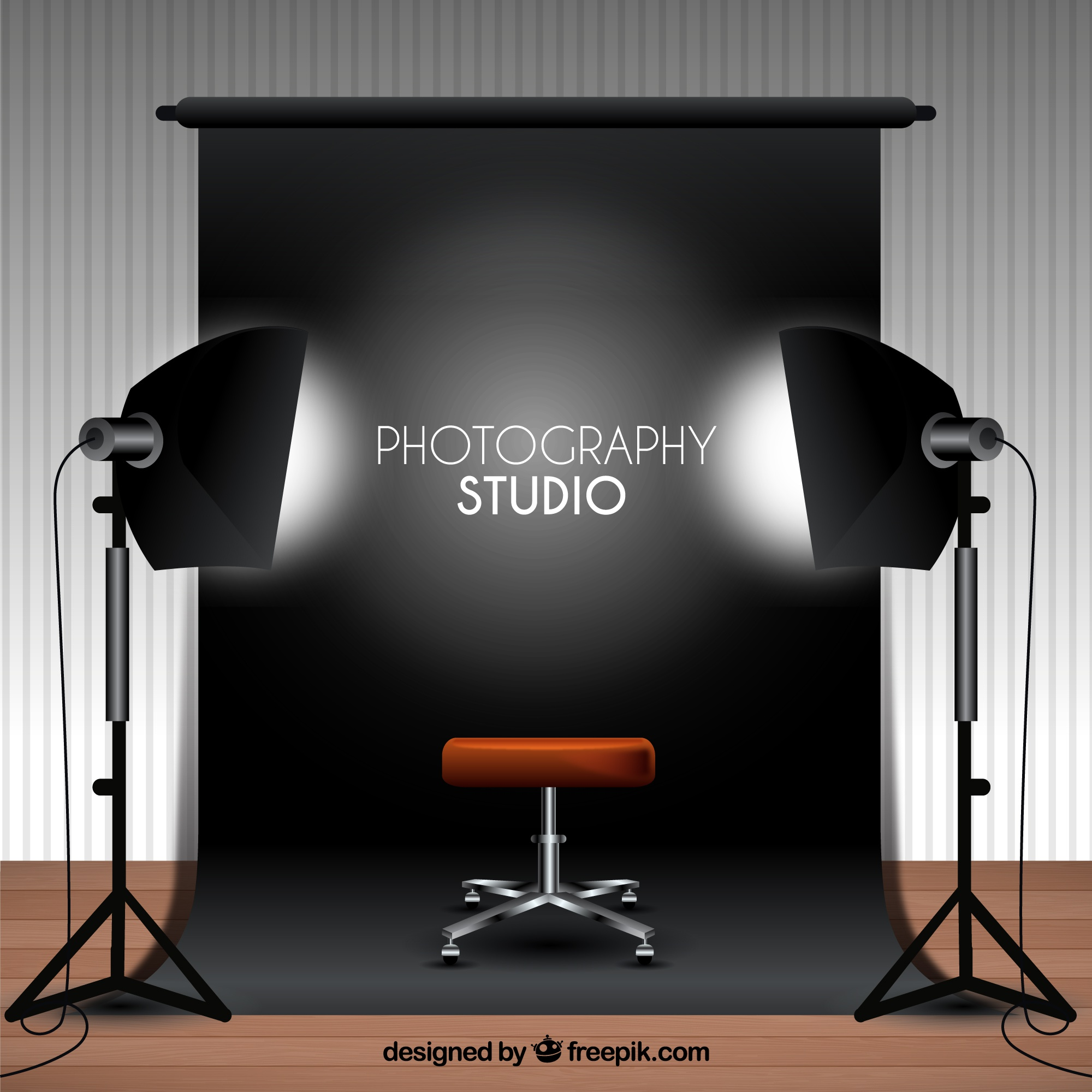 Photography studio with black background