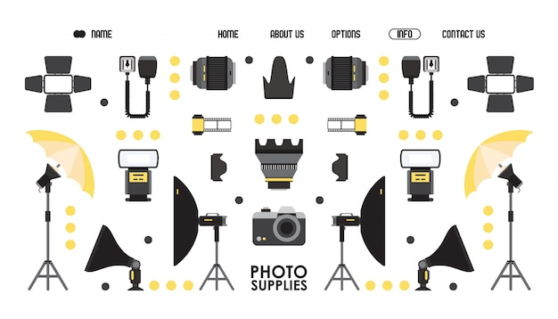 Photography supply website design,   illustration. professional photo equipment online shop, landing page template. camera and lens isolated icons in flat style