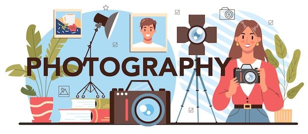 Photography typographic header. students lerning to take photos