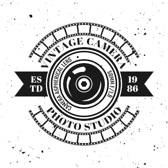 Photography vector emblem, label, badge or logo in vintage monochrome style isolated on background with removable grunge texture