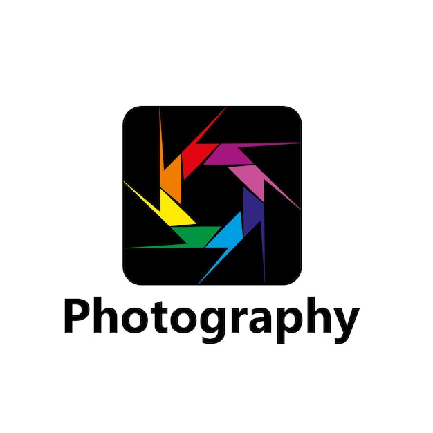 Photography vector icon of diaphragm with colorful leaves or blades, photographer photo studio or photography creative workshop design. rainbow photo camera aperture shutter isolated symbol