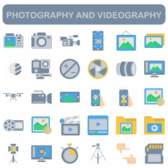 Photography and videography icons set, flat style