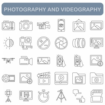 Photography and videography icons set, outline style