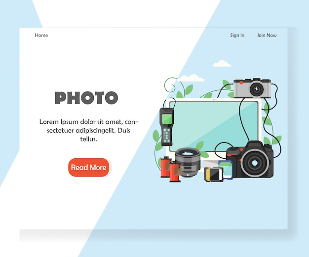 Photography website landing page template