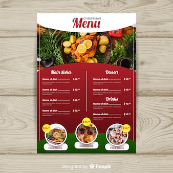 Photograpic christmas menu template
