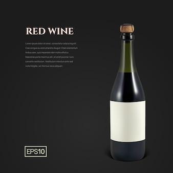 Фотореалистичная бутылка красного игристого вина на черном