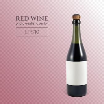 Фотореалистичная бутылка красного игристого вина на прозрачной.