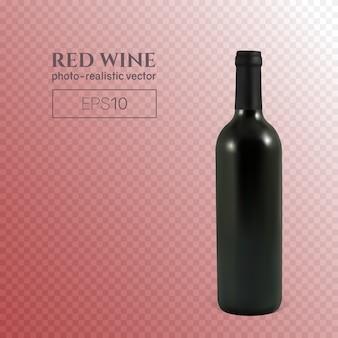 透明な背景に赤ワインの写実的なボトル。透明なワインのボトル。このワインボトルは、任意の背景に配置できます。