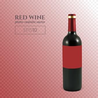 透明な背景に赤ワインの写実的なボトル
