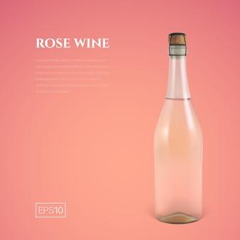 Фотореалистичная бутылка розового игристого вина на розовом