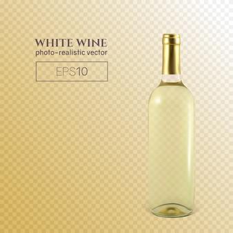 透明な背景に白ワインの写実的なボトル