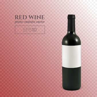 Photorealistic bottle of red wine on a transparent background