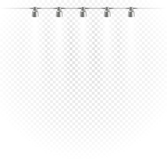 Photorealistic bright stage with projectors. spot lights isolated on transparent  background. stage vector template