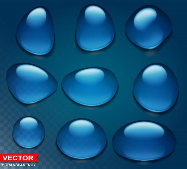 Photorealistic cartoon blue big water drops