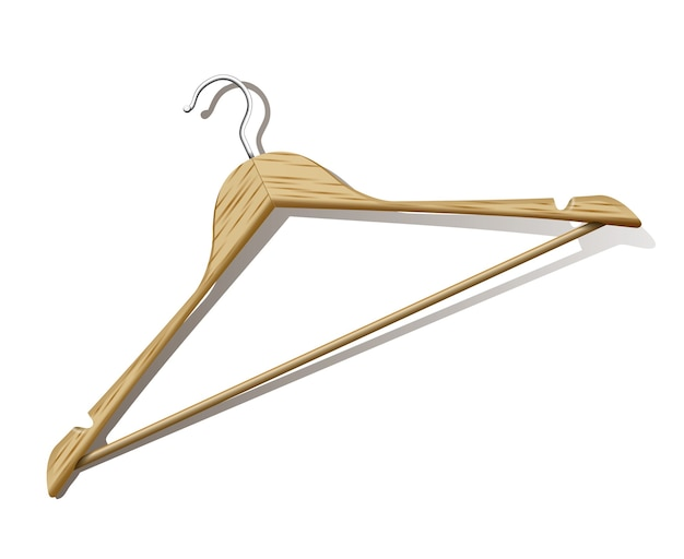 Photorealistic clothes hanger with shadow on white background