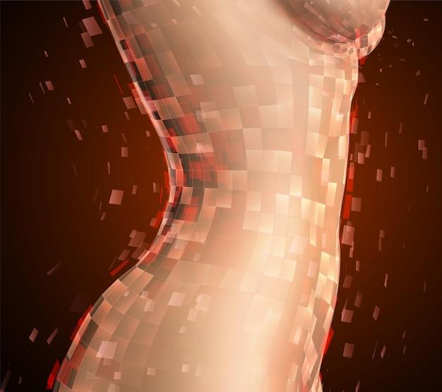 色付きの背景に写実的な女性の身体が粉々に砕ける