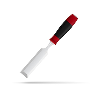 Photorealistic  picture of chisel  on white background
