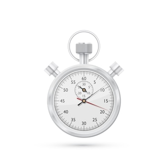 Photorealistic  picture of stop watch  on white background