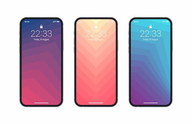 생생한 기하학적 패턴 배경 화면의 다른 변형과 사실적인 아이폰 화면