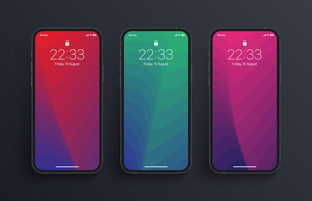 뒤틀린 구조 배경 화면의 다른 변형과 사실적인 아이폰 화면