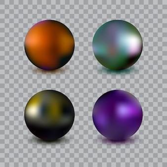 透明な背景に分離された写実的なベクトルボールセット。金属球