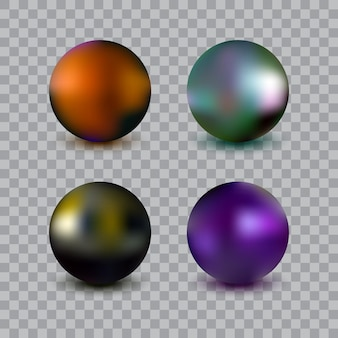 Photorealistic vector ball set isolated on transparent background. metalic spheres