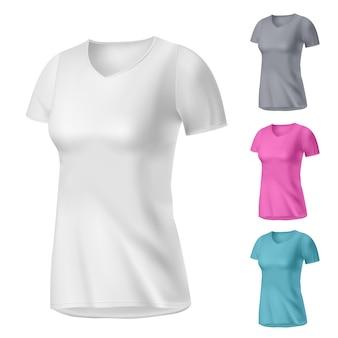 写実的な白いレディースtシャツ、色を変えることができます
