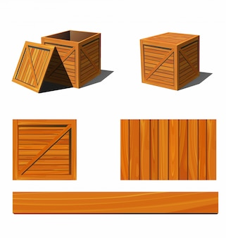Photorealistic wooden box and textures.   illustration.