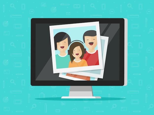 Photos on computer screen or multimedia idea illustration