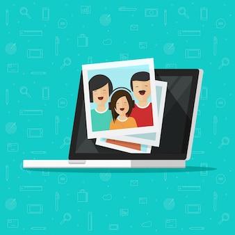 Photos on laptop computer screen or multimedia photo albums illustration