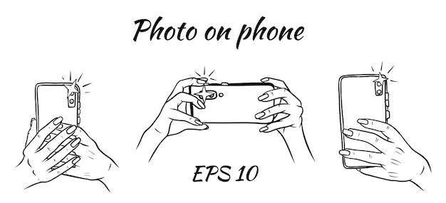 電話での写真。電話を手に。自撮り。スケッチ風イラスト
