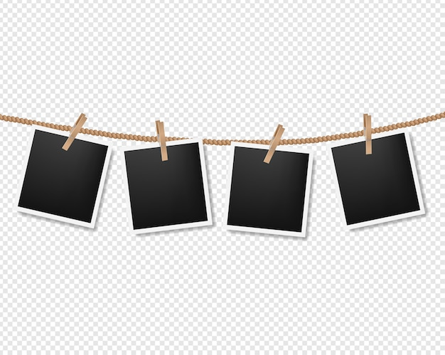 Photos on the rope on transparent