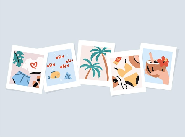 Photos of summer memories from vacation. cartoon drawing