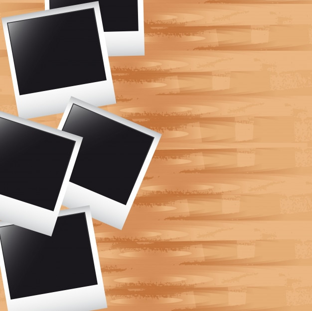 Photos over wooden with space for copy background vector
