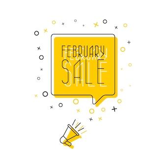 黄色の吹き出しと白い背景のメガホンでフレーズ「2月の販売」。平らな細い線。現代のバナービジネス、マーケティング。