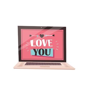 ノートパソコンの画面であなたを愛してるフレーズバレンタインデーお祝いコンセプトグリーティングカードバナー招待ポスターイラスト