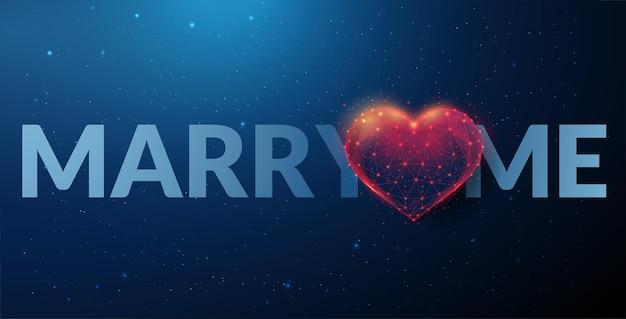 フレーズハートの形で私と結婚してください。幸せなバレンタインデーカード。