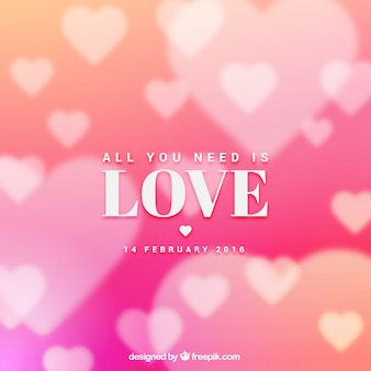 Phrase on a bokeh pink hearts background