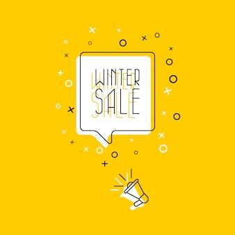 吹き出しと黄色の背景にメガホンでフレーズ「冬のセール」。フラット細い線図。モダンなバナーとポスタービジネス、マーケティング、広告コンセプトテンプレート。