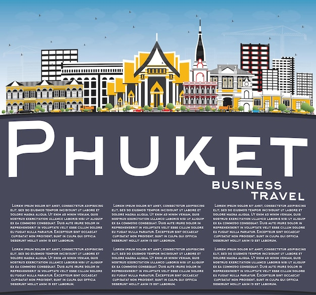 色の建物、青い空、コピースペースのあるプーケットタイシティスカイライン。ベクトルイラスト。近代建築とビジネス旅行と観光の概念。ランドマークのあるプーケットの街並み。