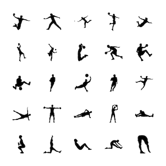 Physical activities silhouettes icons pack