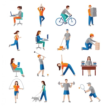 Physical activity healthy lifestyle characters set isolated vector illustration.
