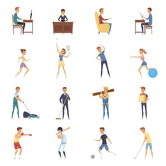 Physical activity and lifestyle isolated icons set