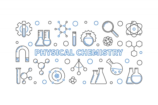 Physical chemistry concept outline horizontal banner
