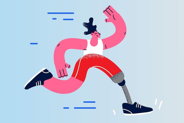 신체 장애 및 활동적인 라이프 스타일 개념
